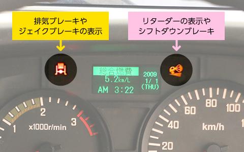 排気ブレーキの表示灯